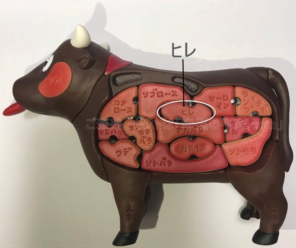 ヒレ肉の場所を示している写真