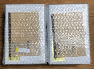 「ランプ」と「イチボ」のプチプチ包装と、ランプの方に付箋が貼ってあってわかりやすい写真