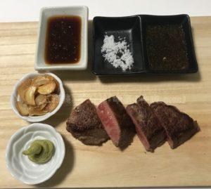 特選松阪牛やまとの芯芯ステーキが完成した時の写真
